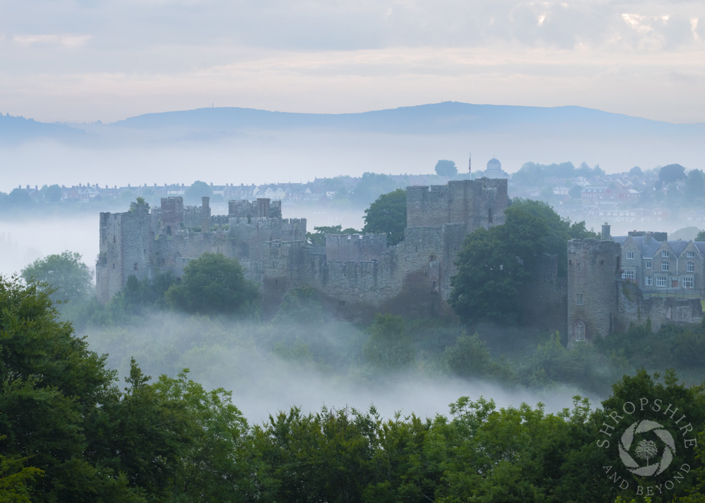 Misty dawn over the ruins of Ludlow Castle