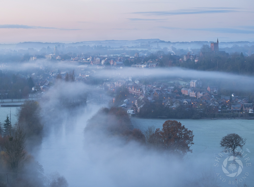 Frost and mist over dreamy Bridgnorth