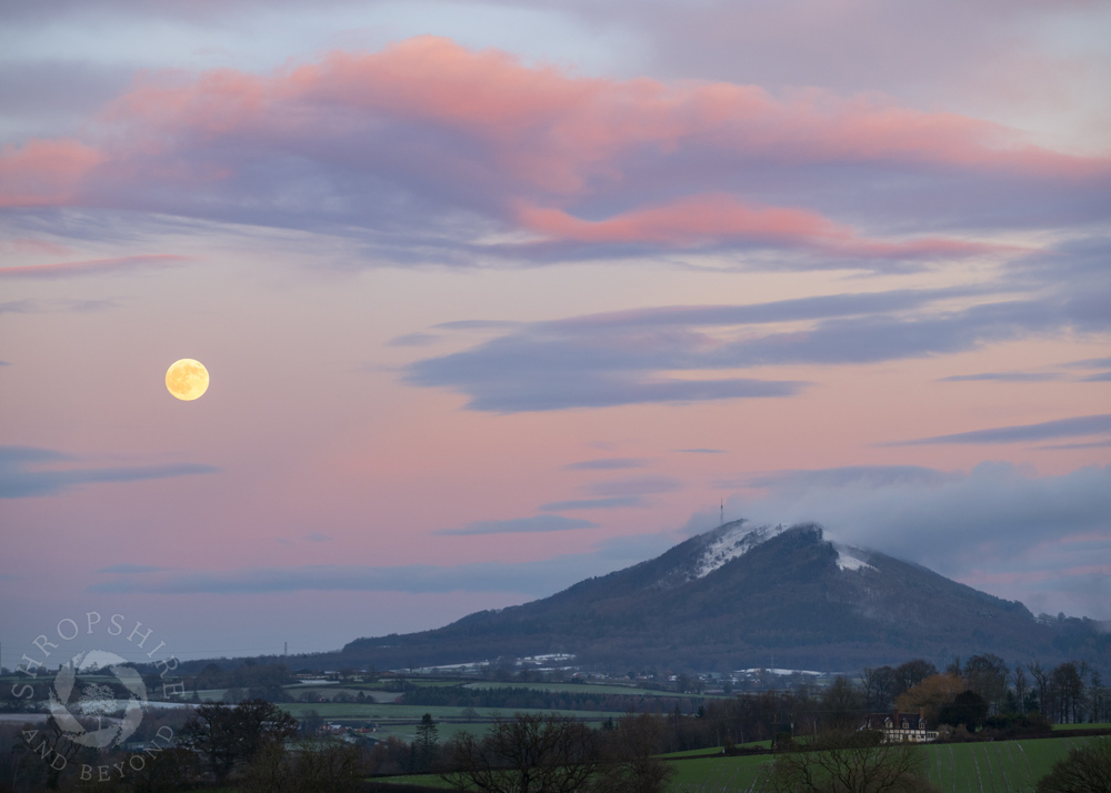 Pink glow of moonrise over the Wrekin