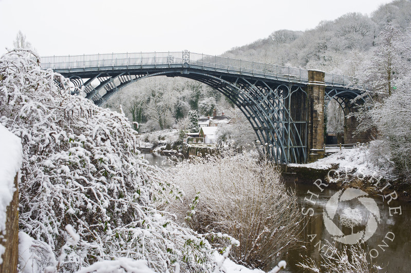 The Iron Bridge in winter at Ironbridge, Shropshire, England.