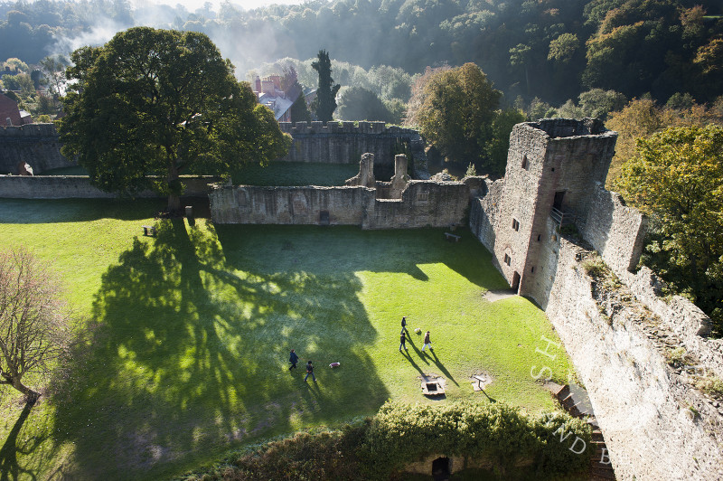A view of the Outer Bailey at Ludlow Castle seen from the Great Tower, Ludlow, Shropshire, England.