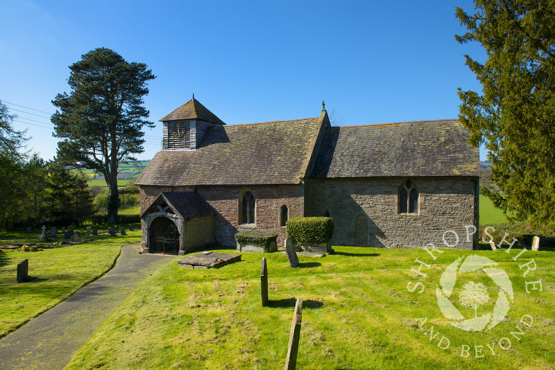 The 13th century church of St Michael and All Angels in the village of Stanton Long, Shropshire.