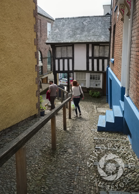 The Cobbles is a steep alley leading to the House on Crutches in Bishop's Castle, Shropshire, England.