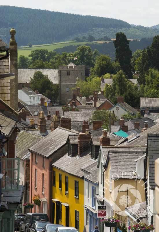The view down High Street looking towards the Church of St John the Baptist in Bishop's Castle, Shropshire, England.