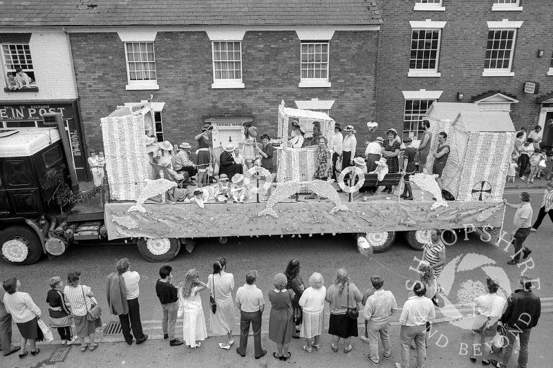 A carnival float in Victoria Road, Shifnal, Shropshire, in June 1987.