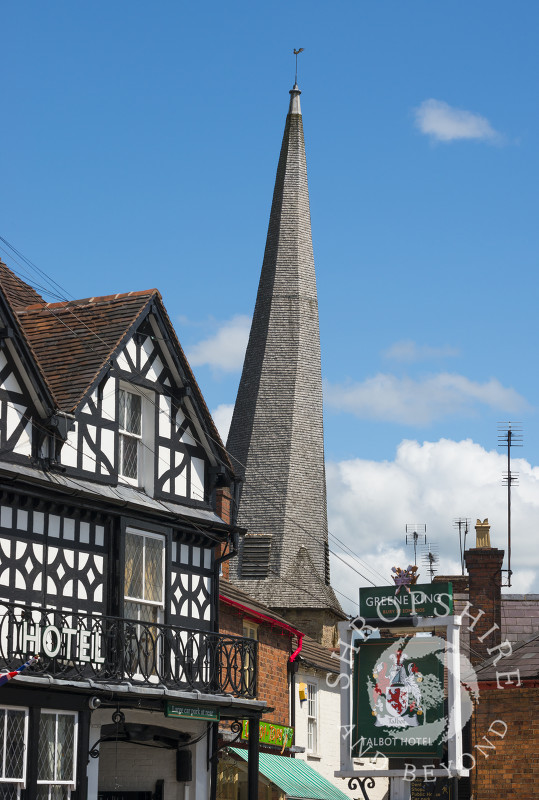 The town of Cleobury Mortimer and the twisted spire of St Mary's Church, Shropshire, England.