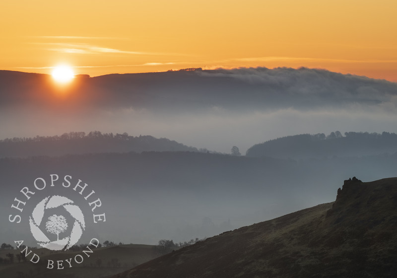 Sunrise over Brown Clee, seen from Caer Caradoc, near Church Stretton, Shropshire.