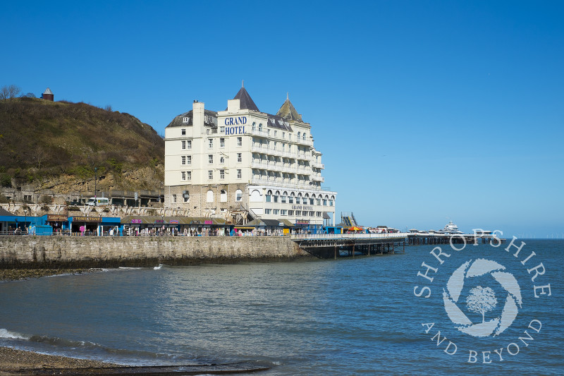 The Grand Hotel and pier at Llandudno, north Wales.