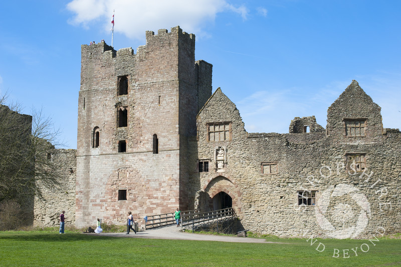 Blue sky over the ruined medieval castle at Ludlow, Shropshire, England.