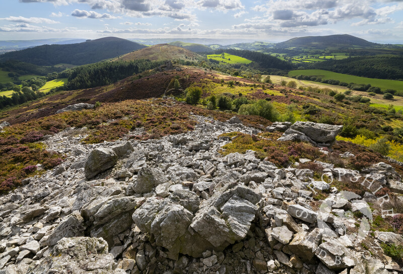 The view south from The Rock on the Stiperstones, Shropshire.