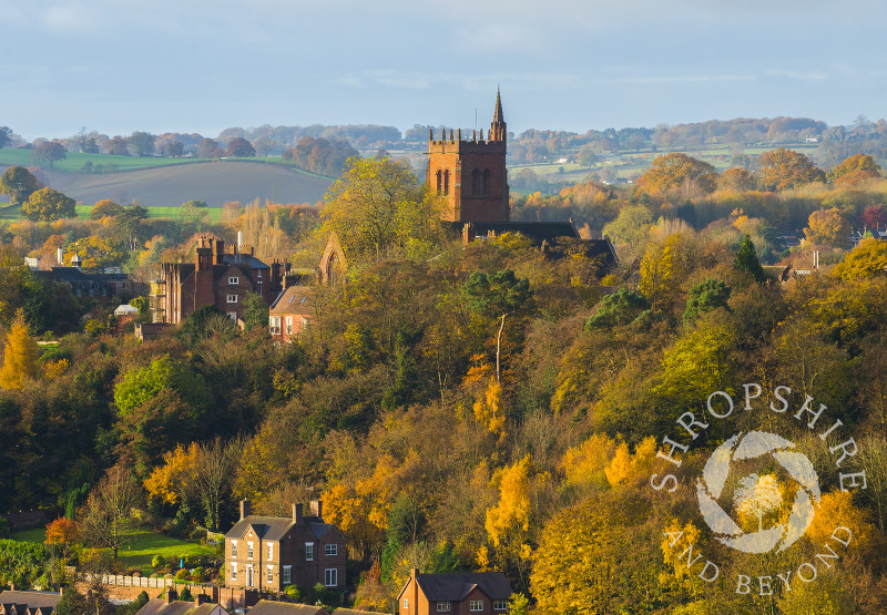 St Leonard's Church in Bridgnorth, Shropshire, surrounded by autumn colour, seen from High Rock.