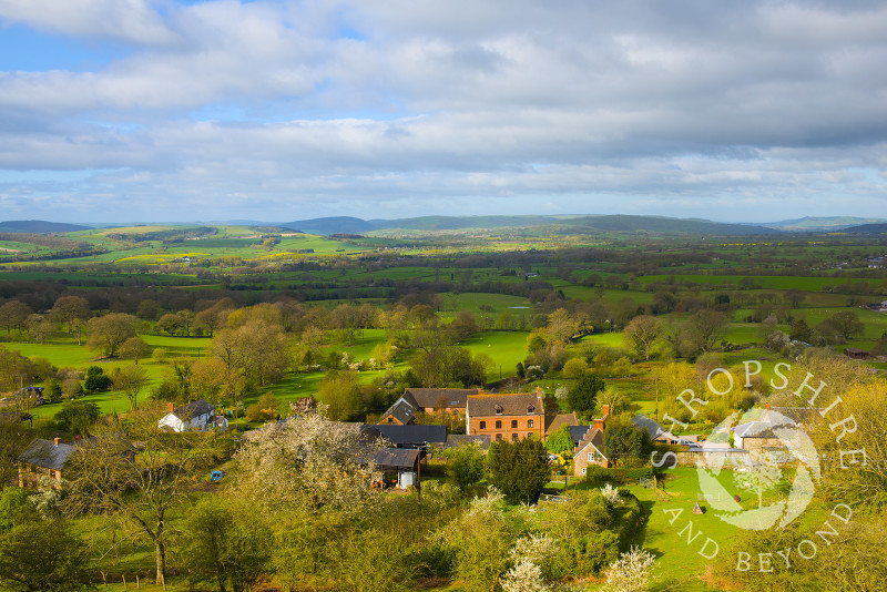 The village of Asterton seen from the Long Mynd, Shropshire Hills, England.