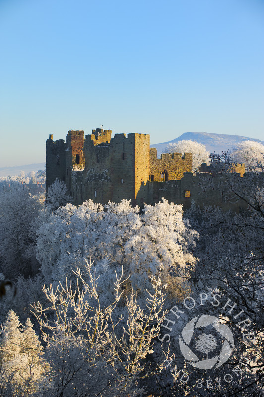 A layer of hoar frost covers Ludlow, Shropshire.