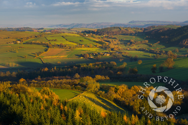 South Shropshire countryside in autumn seen from Bury Ditches Iron Age Hill Fort, Shropshire.