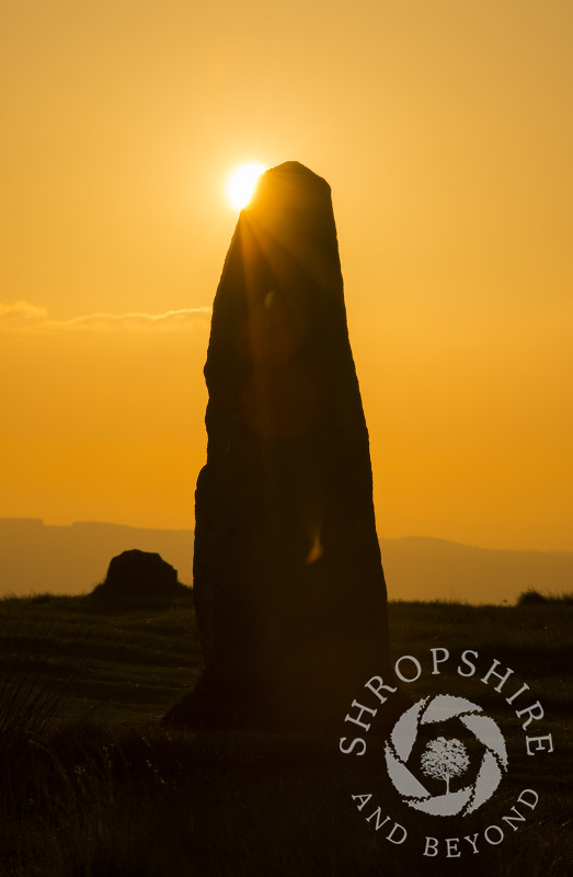 Sunset at Mitchell's Fold Stone Circle on Stapeley Hill near Priest Weston, Shropshire.