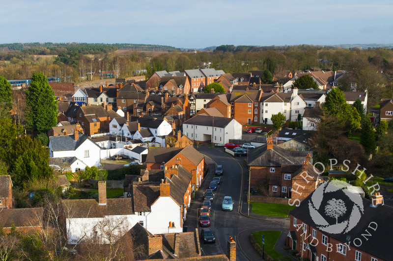 The view from the tower of St Andrew's Church, Shifnal, Shropshire.