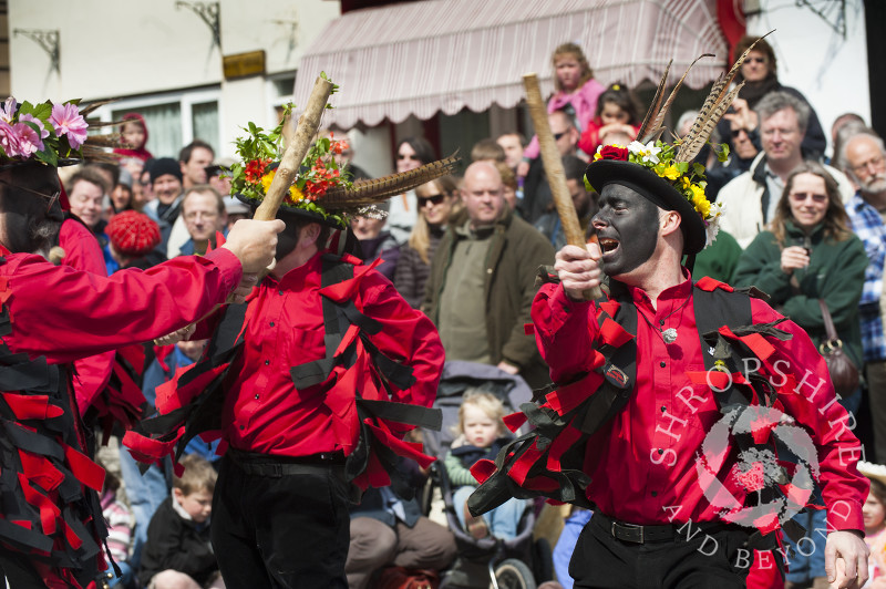 The Ironmen and Severn Gilders morris team at the Green Man Festival, Clun, Shropshire.