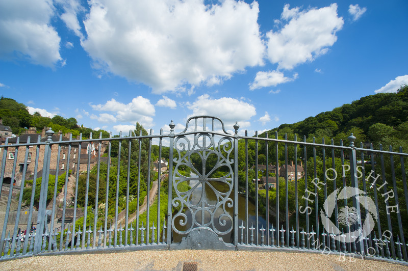 Looking through the railings of the Iron Bridge at Ironbridge, Shropshire, England.
