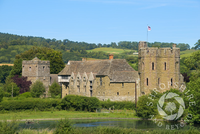 Stokesay Castle and the church of St John the Baptist, near Craven Arms, Shropshire.