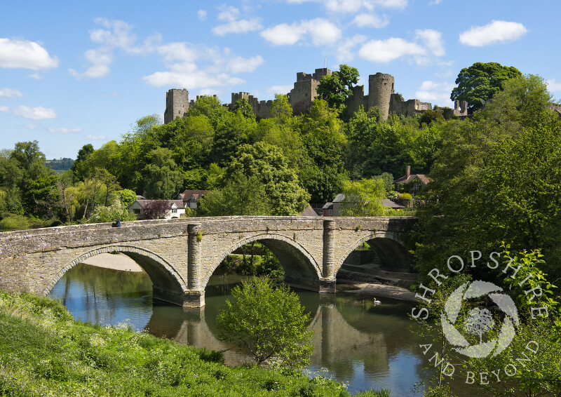 Ludlow Castle overlooks Dinham Bridge and the River Teme, Shropshire.