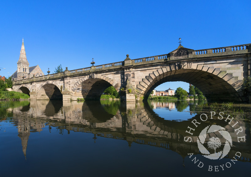 English Bridge seen from the River Severn in Shrewsbury, Shropshire.