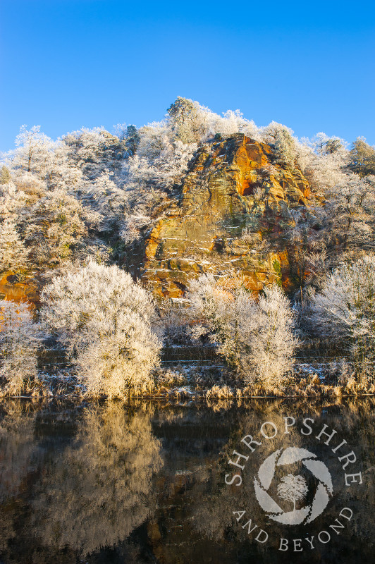 Hoar frost on High Rock overlooking the River Severn at Bridgnorth, Shropshire, England.