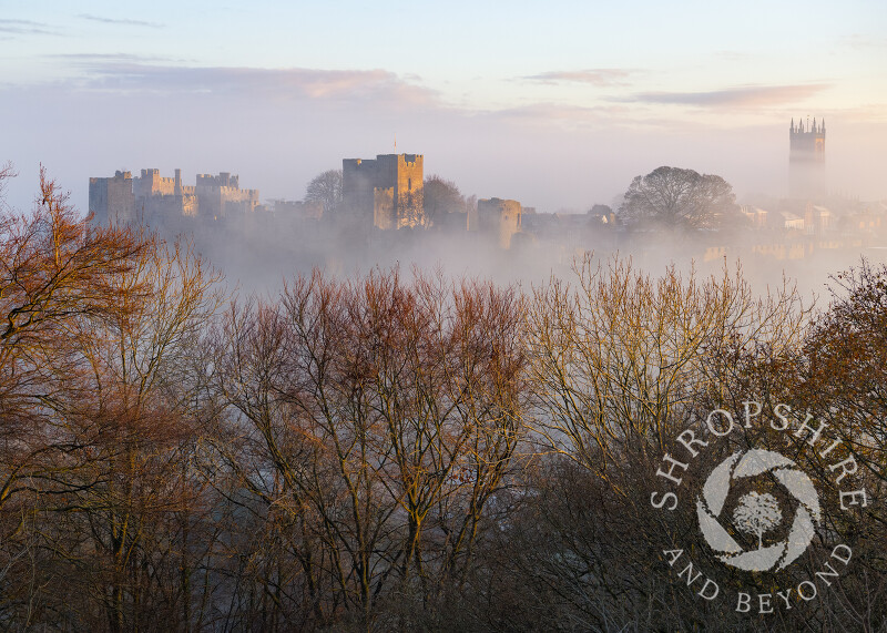 Ludlow Castle at sunrise, seen from Whitcliffe Common, Shropshire.