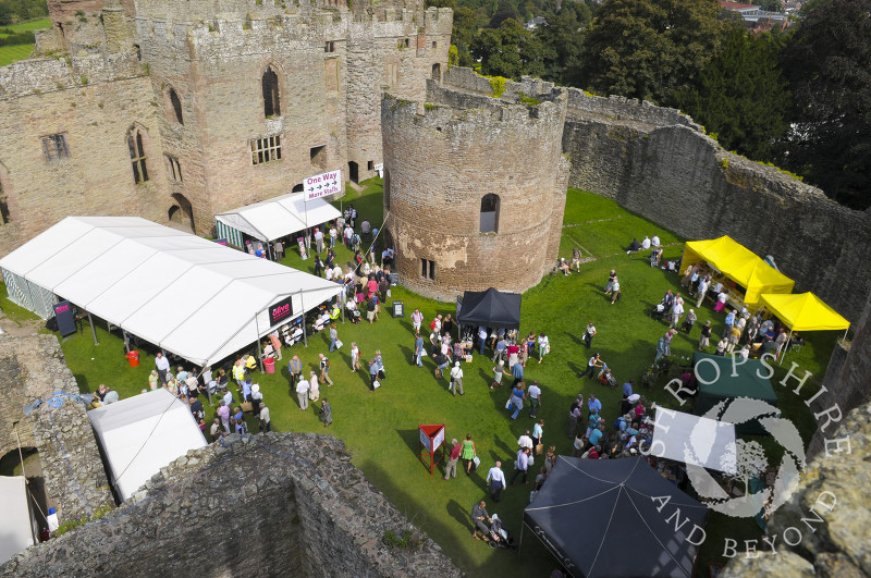 A view of Ludlow Food Festival in the grounds of Ludlow Castle, Shropshire, England.