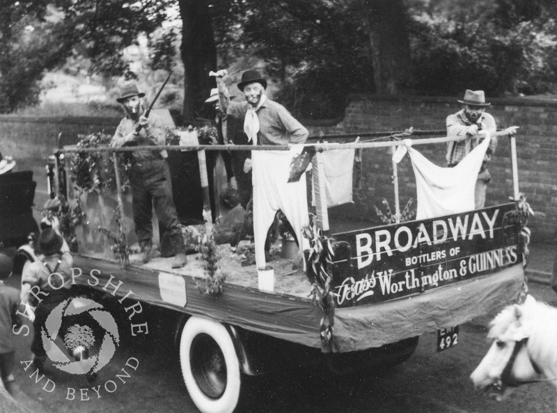 The Broadway Brewery Gold Diggers float at Shifnal Carnival, Shropshire,  in the 1950s.
