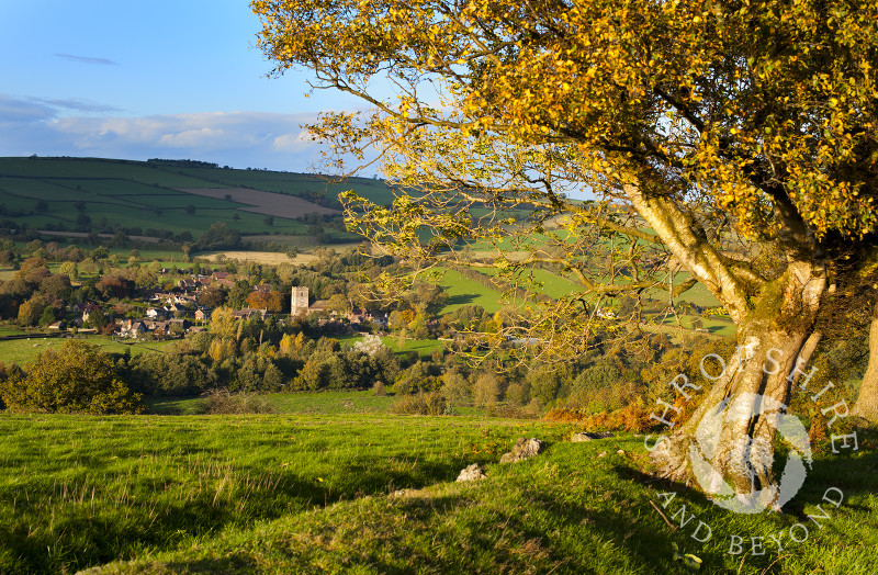 An autumn view of the village of Cardington, near Church Stretton, Shropshire, England.