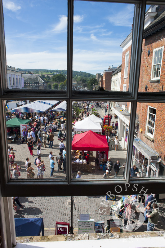 A view of Castle Square from an upstairs window during the Ludlow Food Festival, Shropshire, England.