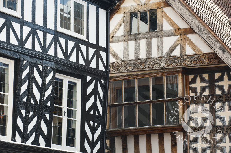 Half-timbered buildings in High Street, Shrewsbury, Shropshire, England.