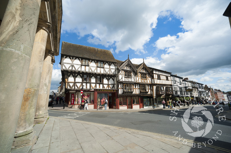 The view down Broad Street from the Buttercross in Ludlow, Shropshire.
