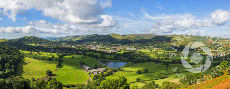 A panoramic view of Church Stretton seen from Caer Caradoc, Shropshire.