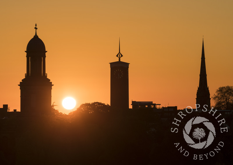 The Shrewsbury skyline at sunrise, seen from Shrewsbury School, Shropshire.