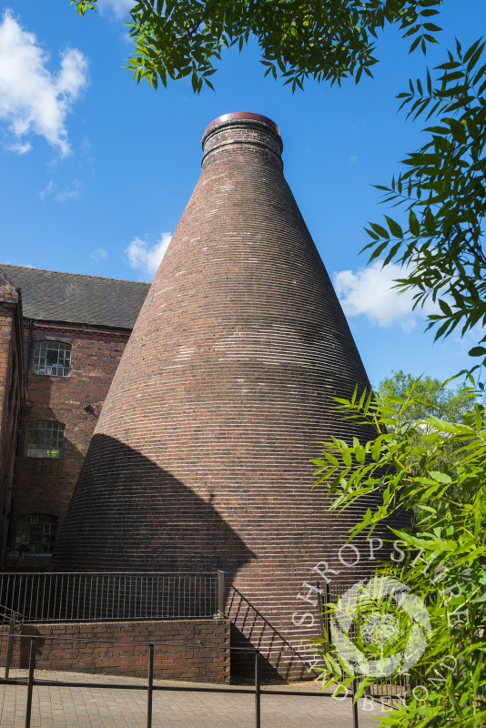 A bottle kiln at Coalport China Museum, one of the Ironbridge Gorge Museums, at Coalport, Shropshire.