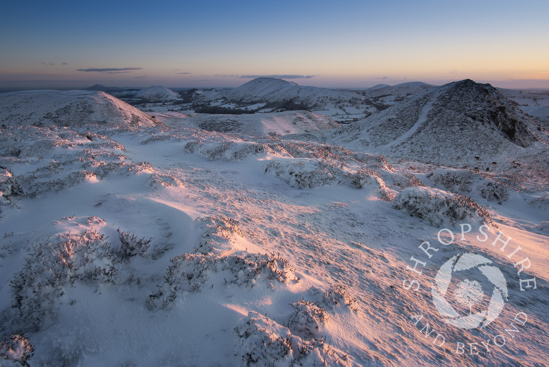 Winter sunrise on the Long Mynd, Church Stretton, Shropshire, England.