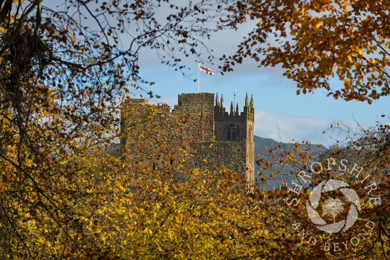 Ludlow Castle and St Laurence's Church in autumn, Ludlow, Shropshire, England.