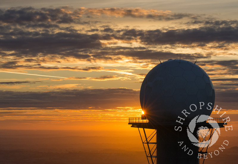 A radar dome at sunrise on Titterstone Clee hill in Shropshire.