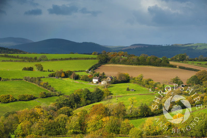 Stormy skies over Round Oak, seen from Hopesay Common, near Craven Arms, Shropshire, England.
