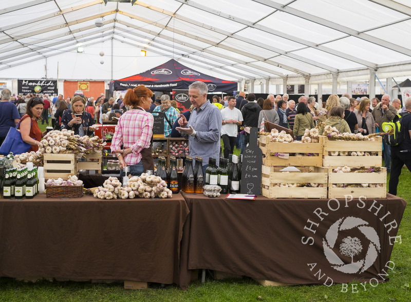 The French Flavour garlic stall at Ludlow Food Festival, Shropshire.