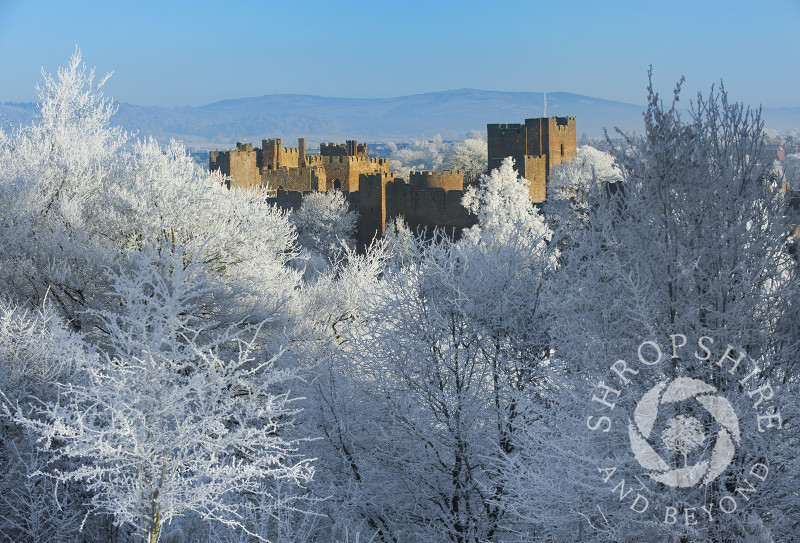 A layer of hoar frost covers the town of Ludlow, Shropshire, England.