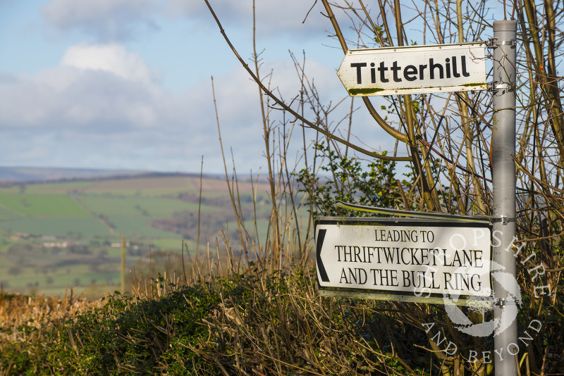 Unusual place names in the countryside near Ludlow, Shropshire, England.