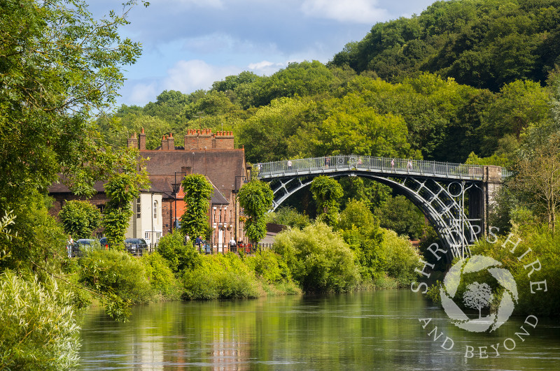 The Iron Bridge and River Severn in summer at Ironbridge, Shropshire.