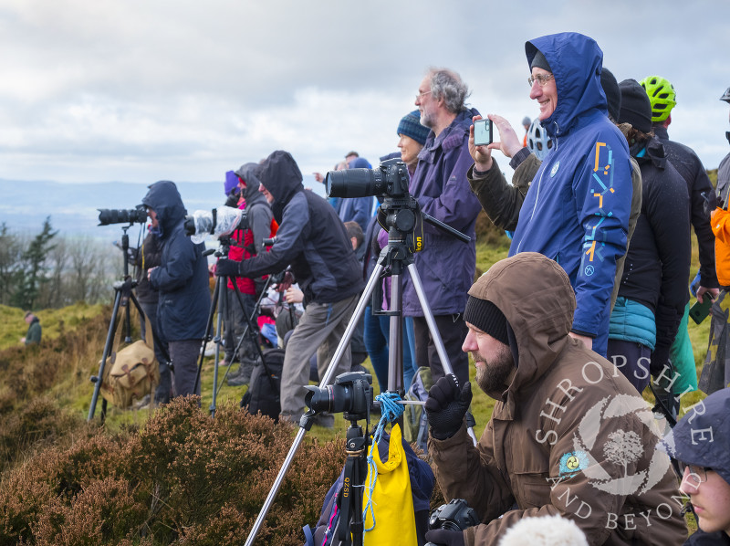 Photographers on the Wrekin awaiting the Ironbridge cooling towers demolition.