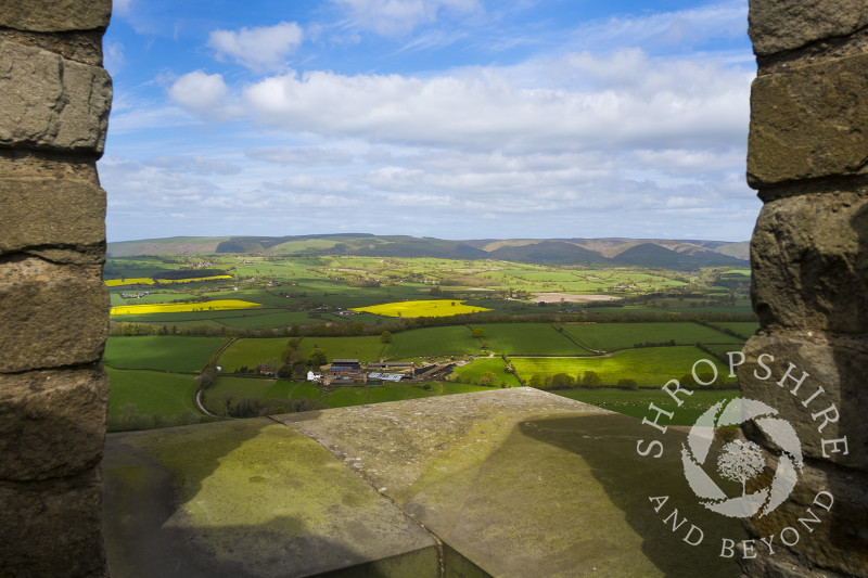 The view from the top of Flounders' Folly on Callow Hill, looking towards the Long Mynd, Shropshire, England.