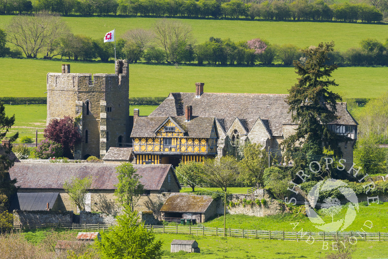 Stokesay Castle, near Craven Arms, Shropshire, seen from Nortoncamp Wood.
