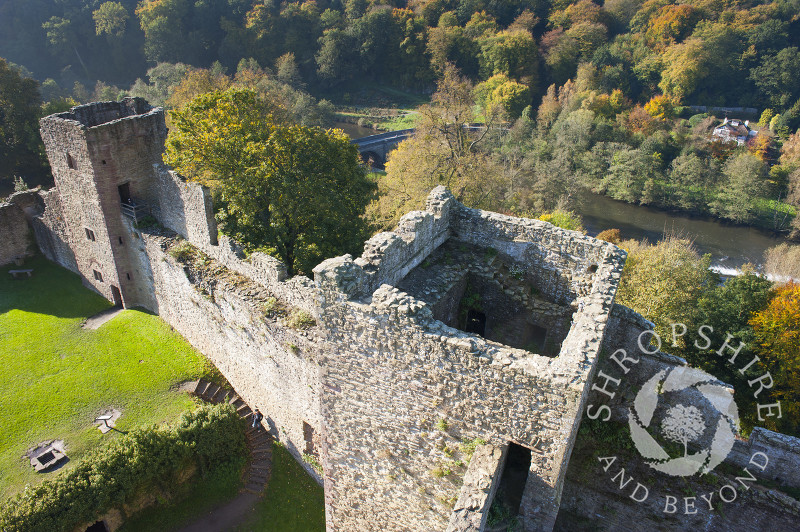 The ruins of Ludlow Castle seen from the Great Tower, Ludlow, Shropshire, England.