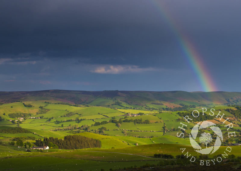 Rainbow over the Long Mynd, seen from the Stiperstones, Shropshire.