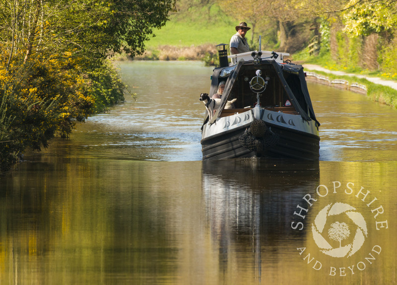 Two people and their dog enjoy the spring sunshine on the Llangollen Canal at Ellesmere, Shropshire.
